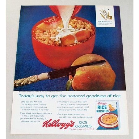 1963 Kellogg's Rice Krispies Cereal Sliced Peach Color Print Ad