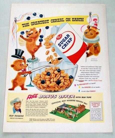 1955 Sugar Crisp Cereal ROY ROGERS RANCH SET OFFER Color Print Ad