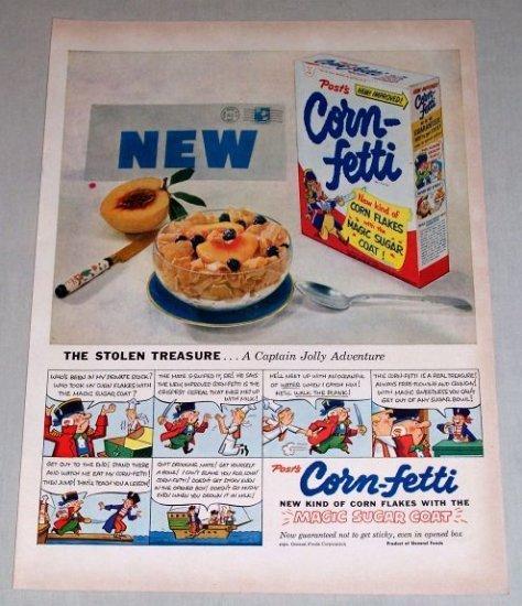 1953 Corn Fetti Cereal Capt Jolly Adventure Color Print Ad