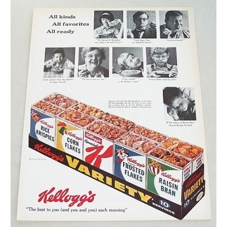 1964 Kellogg's Cereal Variety Pack Color Print Ad