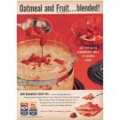 1958 Quaker Mother's Oats Color Print Ad - Oatmeal And Fruit