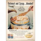 1959 Quaker Oats Color Print Ad - Oatmeal and Syrup...Blended