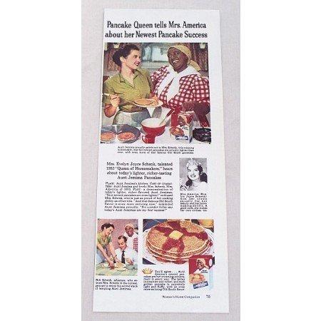 1953 Aunt Jemima Pancakes Color Print Ad - Pancake Queen
