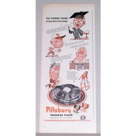 1944 Pillsbury Pancake Flour Color Art Print Ad - 4 Kernel College