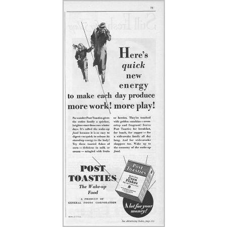 1931 Post Toasties Corn Flakes Print Ad - Quick New Energy