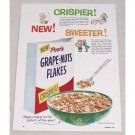 1954 Post's Grape Nuts Flakes Cereal Color Print Ad