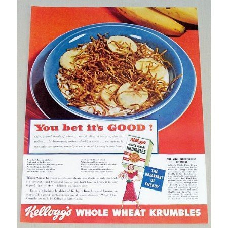 1938 Kellogg's Whole Wheat Krumbles Cereal Color Print Ad