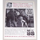 1961 Quaker Mother's Oats Print Ad - School Bus Stop