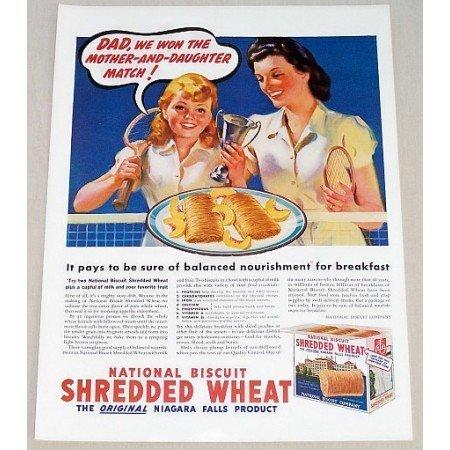 1939 Nabisco Shredded Wheat Color Tennis Art Print Ad - Dad We Won