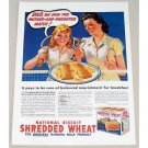 1939 Nabisco Shredded Wheat Color Tennis Art Print Ad - Dad We Won
