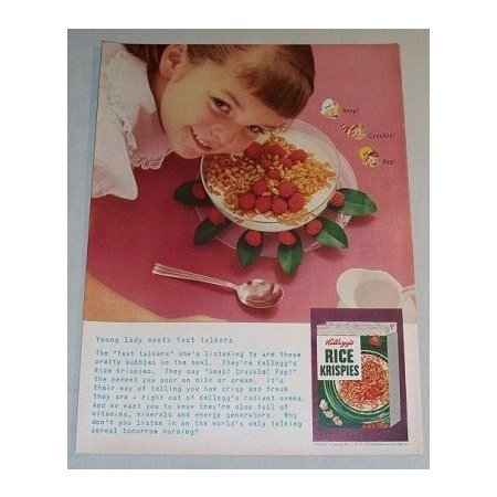 1955 Kellogg's Rice Krispies Cereal Color Print Ad - Young Lady Meets Fast Talker