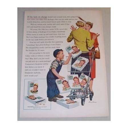 1955 Kellogg's Corn Flakes Cereal Color Art Print Ad - If The Lady In Charge