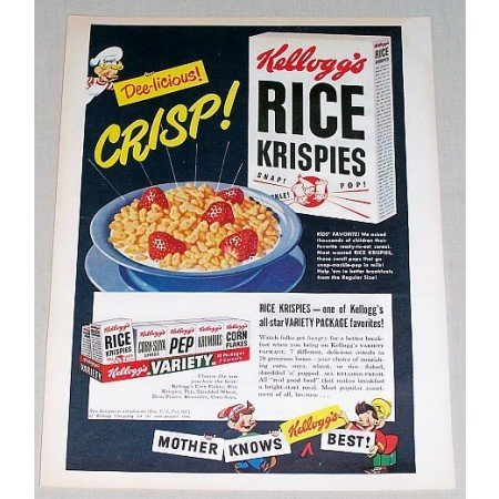 1949 Kellogg's Rice Krispies Cereal Color Art Print Ad - Dee-licious