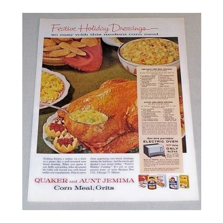 1960 Quaker Aunt Jemima Corn Meal Grits Dressing Recipe Color Print Ad