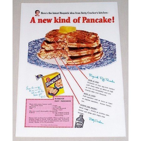 1953 Bisquick Puff Pancake Mix Color Print Ad