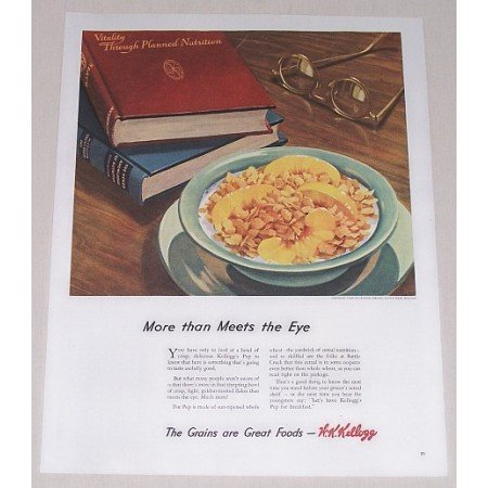 1944 Kellogg's Cereal Color Print Ad - More Than Meets The Eye