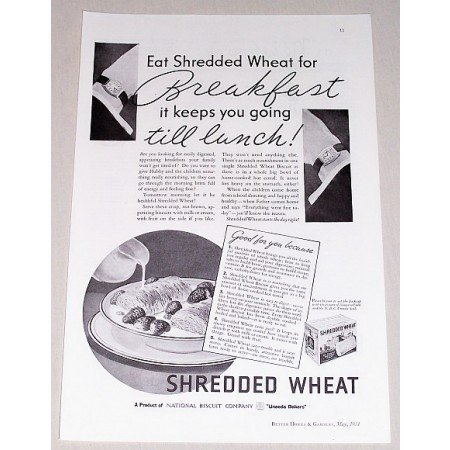 1934 NBC Shredded Wheat Print Ad - Breakfast Till Lunch!