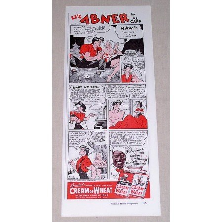 1942 Cream Of Wheat Li'l Abner by Al Capp Cartoon Art Color Print Ad