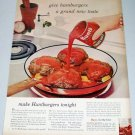 1960 Hunt's Tomato Sauce Huntburgers Recipe Color Print Ad
