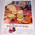 1960 Kraft Mayonnaise Color Print Ad - Let's Talk Cold Turkey