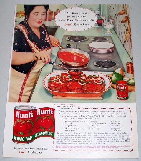 1960 Hunt's Tomato Paste Baked Round Steak Recipe Color Print Ad