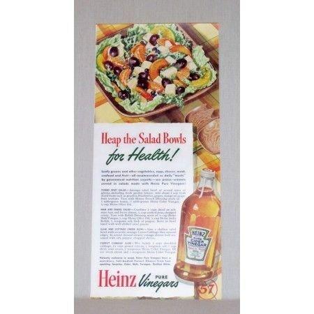 1942 Heinz Pure Vinegars Color Print Ad