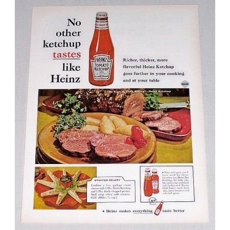 1961 Heinz Ketchup Stuffed Celery Recipe Color Print Ad