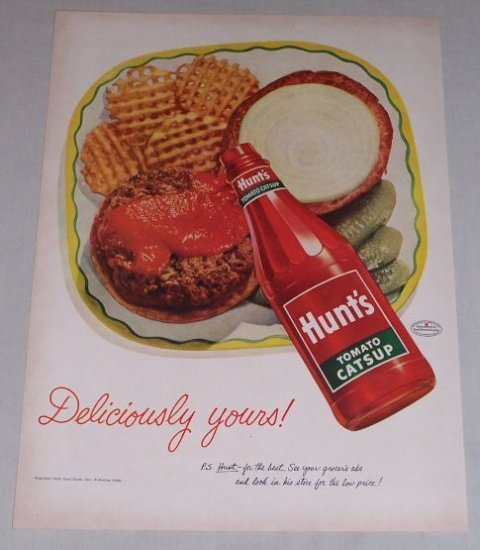 1952 Hunt's Tomato Catsup Waffle Fries Color Art Print Ad