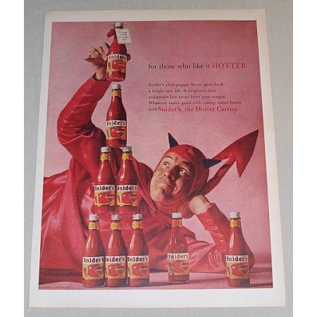 1958 Snider's Catsup Color Print Ad - For Those Who Like It Hotter