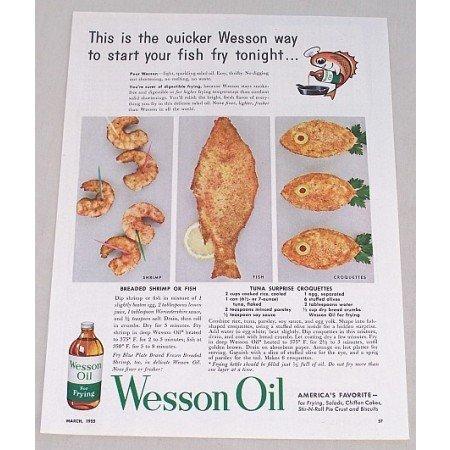 1955 Wesson Oil Tuna Suprise Croquettes Recipe Color Print Ad