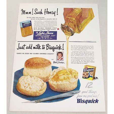 1951 Lake Shore Honey Bisquick Color Print Ad - Mmm! Such Honey!