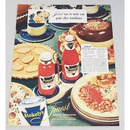 1946 Stokely's Chili Sauce Tomato Catsup Color Print Ad