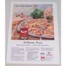 1955 Hunt's Tomato Sauce 10 Minute Pizza Recipe Color Print Ad