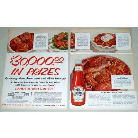 1956 Heinz Tomato Ketchup 2 Page Color Print Ad