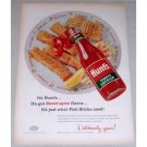 1956 Hunt's Tomato Catsup Fish Sticks Art Color Print Ad
