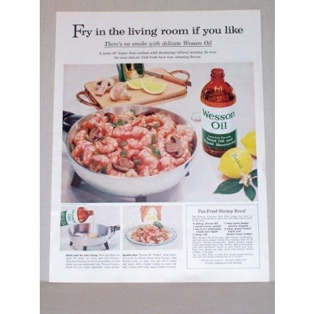 1957 Wesson Oil Pan Fried Shrimp Royal Recipe Color Print Ad