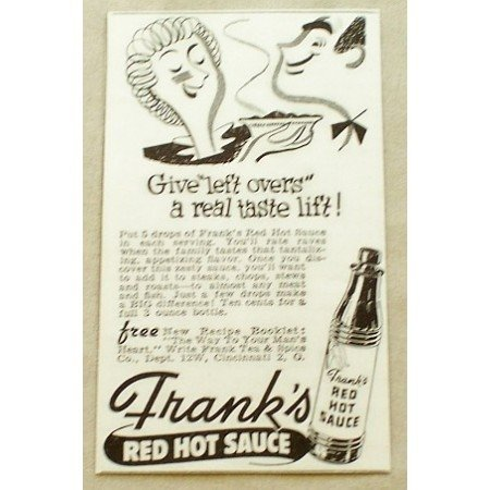 1947 Frank's Frank Tea and Spice Co. Red Hot Sauce Print Ad