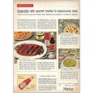 1959 Heinz Ketchup Dill Steak Logs Recipe Color Print Ad