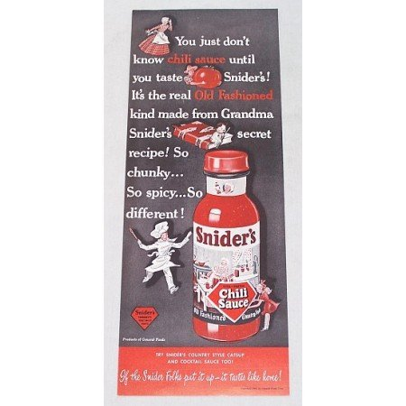1948 Snider's Chili Sauce Color Print Ad