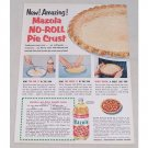 1954 Mazola Oil No-Roll Pastry Shell Recipe Color Print Ad