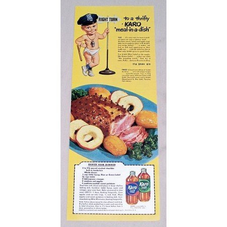 1949 Karo Syrup Karo Kid Color Print Ad - Meal In A Dish