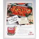 1948 Hunt's Tomato Sauce Meat and Veggie Recipe Color Print Ad