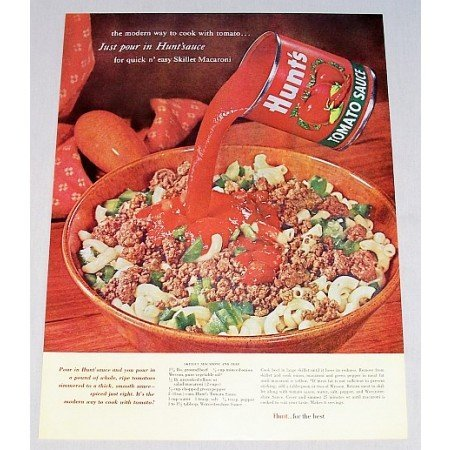1962 Hunt's Tomato Sauce Skillet Mac Beef Recipe Color Print Ad
