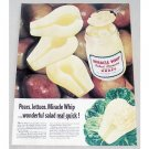 1956 Miracle Whip Salad Dressing Pears Color Print Ad