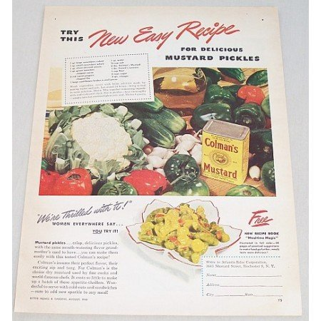 1946 Colman's Mustard Mustard Pickles Recipe Color Print Ad