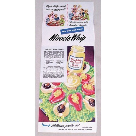 1949 Miracle Whip Salad Dressing Pear Platter Recipe Color Print Ad