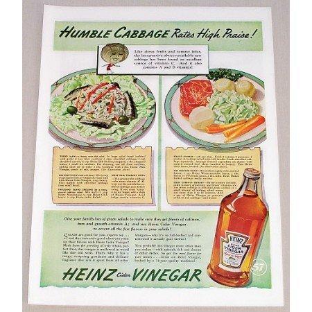 1942 Heinz Cider Vinegar Color Print Ad - Humble Cabbage