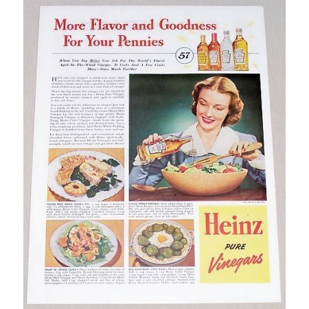 1941 Heinz Pure Vinegars Color Print Ad - More Flavor Goodness