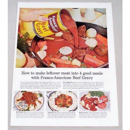 1956 Franco American Beef Gravy Beef Stew Recipe Color Print Ad