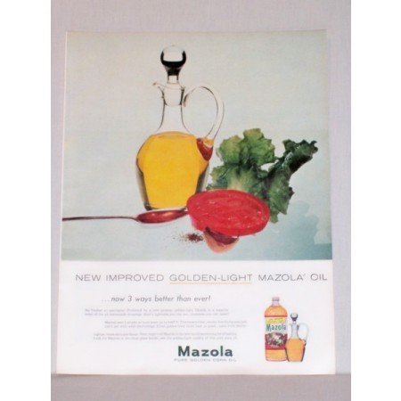 1957 Mazola Golden Light Corn Oil Color Print Ad